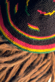 rasta cap and dreadlocks