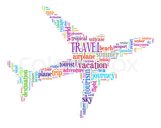 travel info text graphics concept word cloud on blackboard