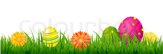 Happy Easter Border With Grass And Eggs With Gradient Mesh, Vector Illustration