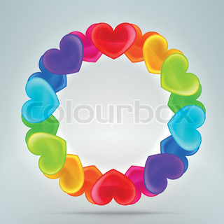 Heart photo border frame in round circle shape, made of colorful rainbow colored eps10 vector elements