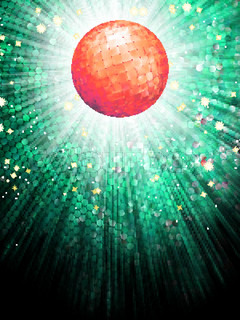 Red disco ball on light mosaic detail EPS 10