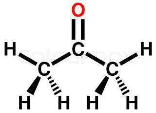 Acetone molecule - structural chemical formula and model, one of ...