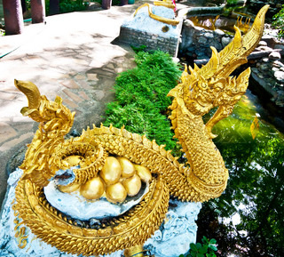 The Golden Naga Sculpture with golden eggs