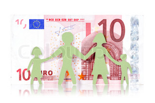 Paper family and ten Euro banknote