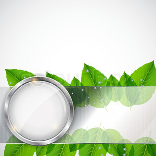 Abstract background with leaves and glass frame vector iilustration