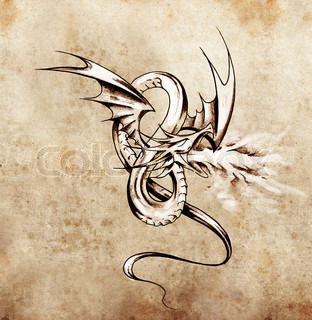 Medieval dragon figure Sketch of tattoo art over antique paper
