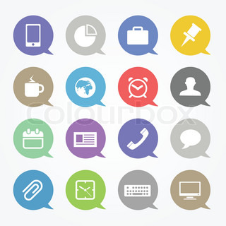 Business web icons set in color speech clouds