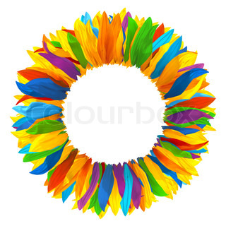 Wreath of multicolored petals of sunflower