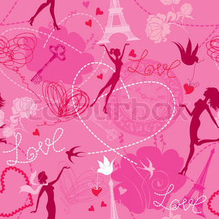 Seamless pattern in pink colors - Silhouettes of fashionable girls, hearts and birds Love dreams in Paris