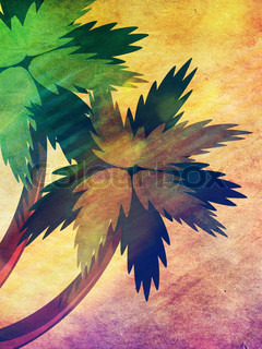 Cartoon tropical palm trees on colorful grunge paper background