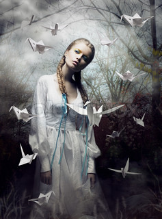 Mystery Origami Woman with White Paper Pigeon Fairy Tale Fantasy