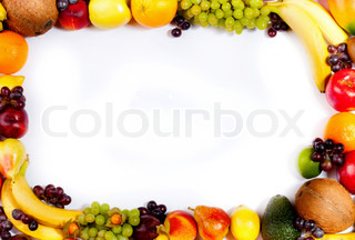 Border or frame of colorful fruits Assortment of exotic fruits, isolated on white background