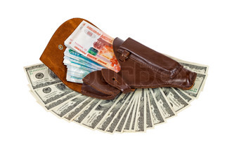 Banknotes in the brown leather holster