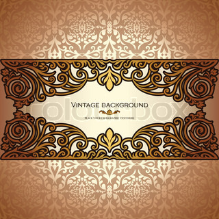 Vintage background, antique, victorian gold ornament, baroque frame, beautiful old paper, card, ornate cover page, label floral luxury ornamental pattern template for design