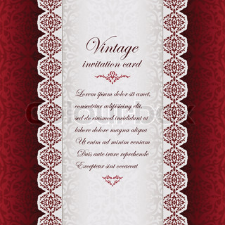 Vintage background, antique greeting card, invitation with lace and floral ornaments, beautiful ...