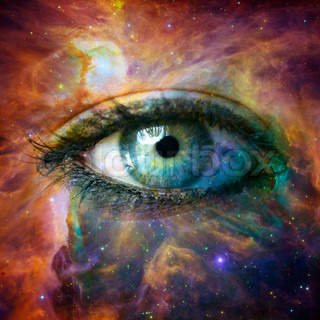 Human eye looking in Universe - Elements of this image furnished by NASA