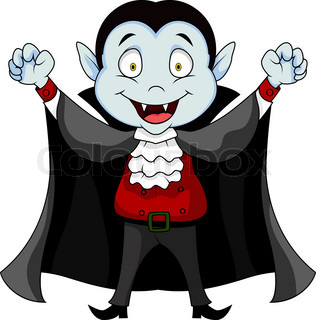 outlined kid in a vampire costume celebrating halloween. Black Bedroom Furniture Sets. Home Design Ideas