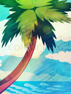Cartoon tropical palm tree and blue sea, summer vintage background