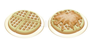 Two Tradition Round Waffles on White Plates