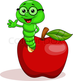 Worm and apple cartoon