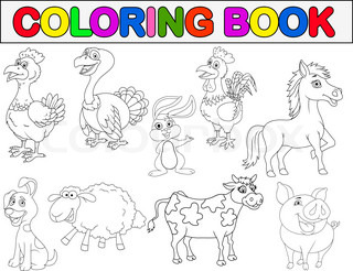 Coloring book with farm animals Stock Vector Colourbox