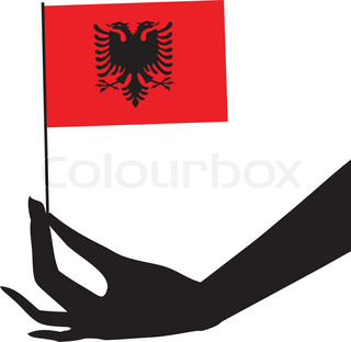 Albania flag in his hand