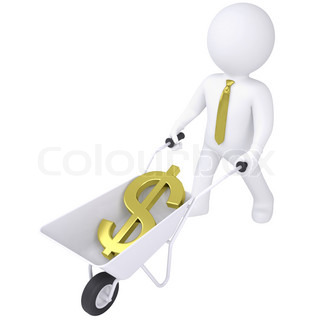 3d white man carries a wheelbarrow with the euro