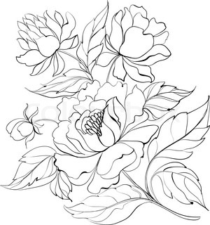 Ink Painting of Peony