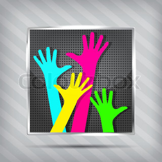 metallic icon with happy hands on the striped background