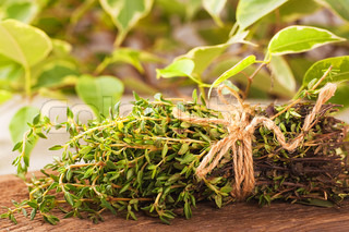 Thyme bunch with a rough rope on a wooden board