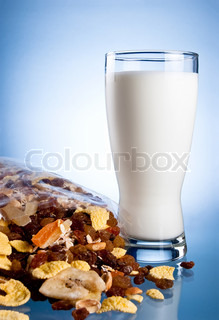Fresh Glass of Milk and Closed Pack of muesli on a blue background