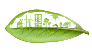 Green futuristic city living concept Life with green houses, solar panels, wind farm, eco cars and trees