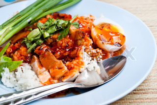 Thai food rice red pork sauce