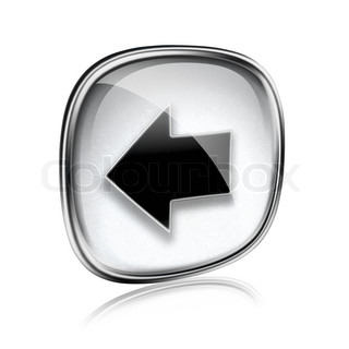 Arrow left icon grey glass, isolated on white background