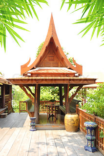 Traditional Thai style wooden gazebo