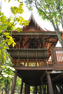 Traditional Thai style house in the park