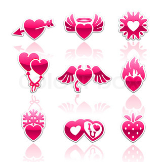 Stock-Vektor von 'Set Valentinstag Buttons, liebe romantische Zeichen'