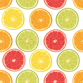 Fresh colorful citrus fruits seamless pattern with orange ...