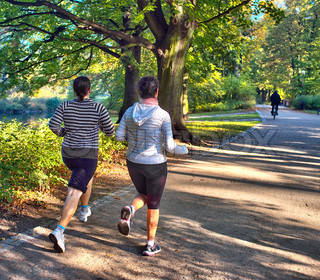 Young attractive female joggers in the park