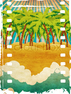 Grunge background with cartoon tropical beach with palm trees and blue waves
