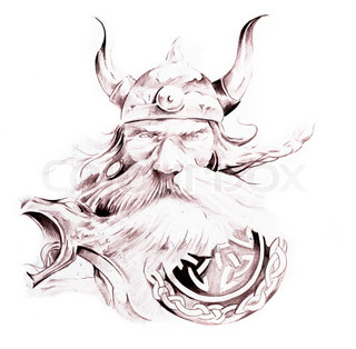 Tattoo art, sketch of a viking