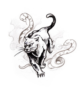 Tattoo art, sketch of a panther