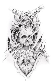 Tattoo art, sketch of a machine and skull