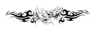 Tattoo art, sketch of a dragons head