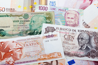Former Greek, Spanish, Italian and Portugues currency