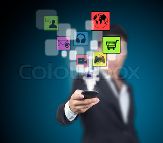Businessman select the application