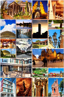 European city in collage