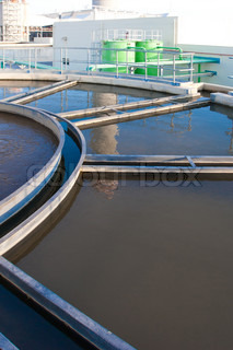 The water treatment tanks in wastewater processing systems to make it clean before draining to the sea