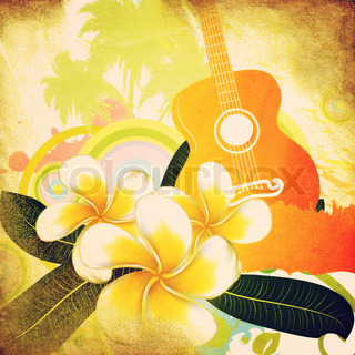 Grunge tropical background with guitar