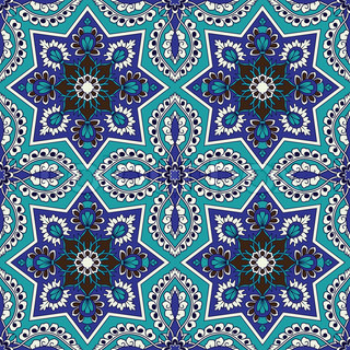 Arabesque Seamless Pattern In Blue And Turquoise In